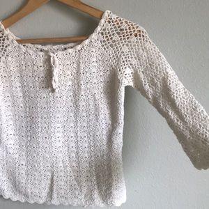 Vintage? lace crochet white crop top cover up 70s